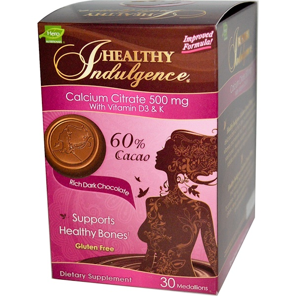 Hero Nutritional Products, Healthy Indulgence, Calcium Citrate with Vitamin D3 & K, Rich Dark Chocolate, 500 mg, 30 Medallions (Discontinued Item)