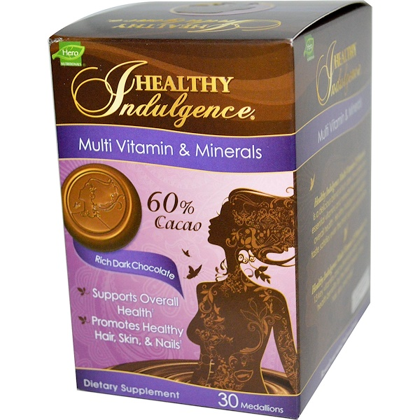 Hero Nutritional Products, Healthy Indulgence, Daily Wellness, Multi-Vitamins & Minerals,  Rich Dark Chocolate, 30 Medallions (Discontinued Item)