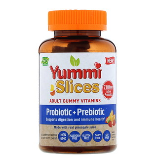 Hero Nutritional Products, Yummi Slices, Adult Gummy Vitamins, Probiotic + Prebiotic, Natural Strawberry and Orange Flavors, 60 Gummy Vitamins