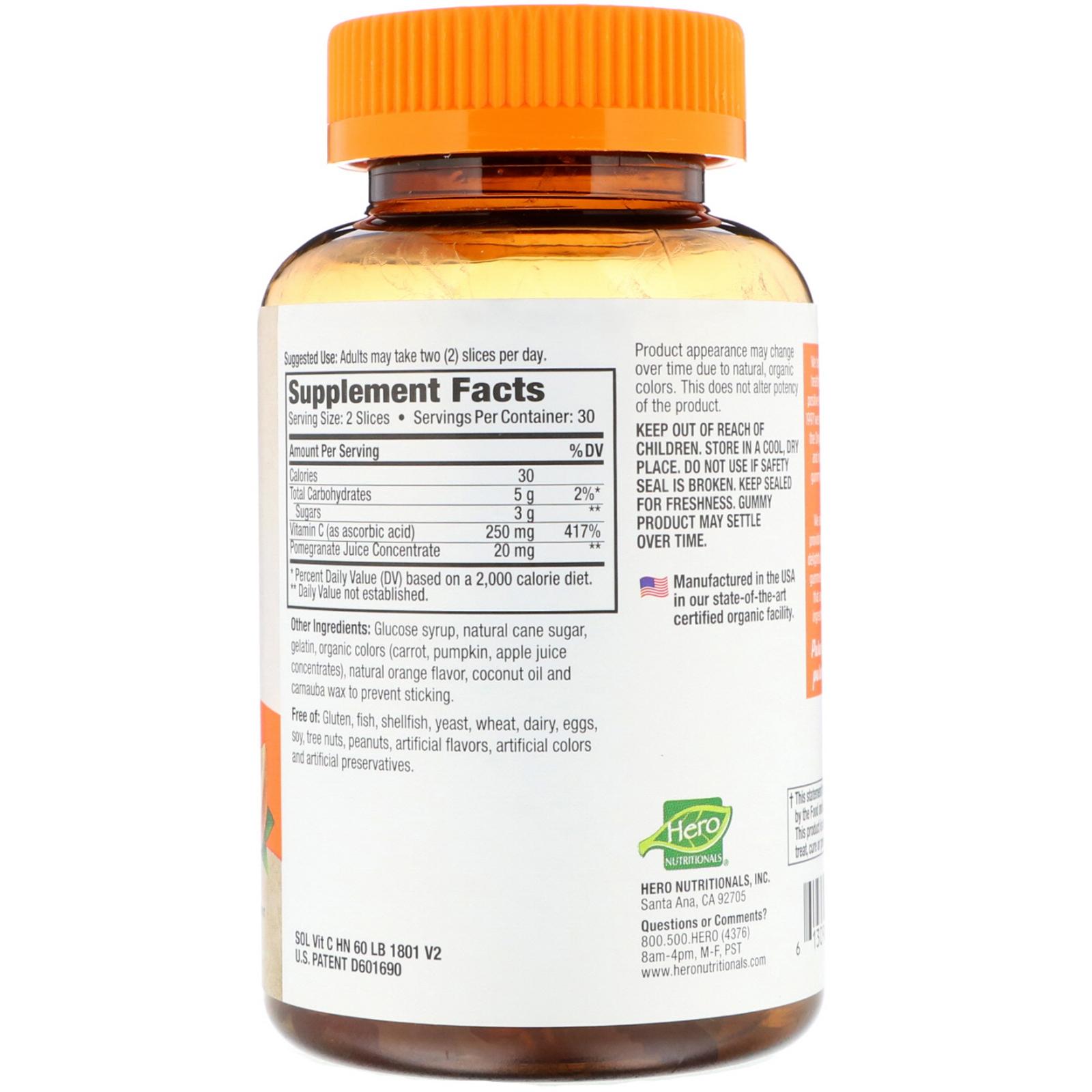 Hero Nutritional Products, Slice of Life, Adult Gummy Vitamins, Vitamin C,  Natural Orange Flavor, 60 Gummy Vitamins