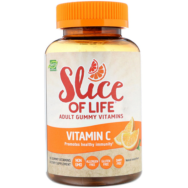 Hero Nutritional Products, Slice of Life, Adult Gummy Vitamins, Vitamin C, Natural Orange Flavor, 60 Gummy Vitamins
