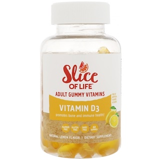 Hero Nutritional Products, Slice of Life, Adult Gummy Vitamins, Vitamin D3, Natural Lemon Flavor, 60 Gummies