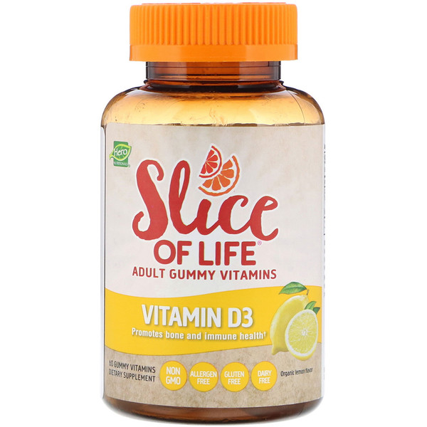 Hero Nutritional Products, Slice of Life, Adult Gummy Vitamins, Vitamin D3, Organic Lemon Flavor, 60 Gummy Vitamins