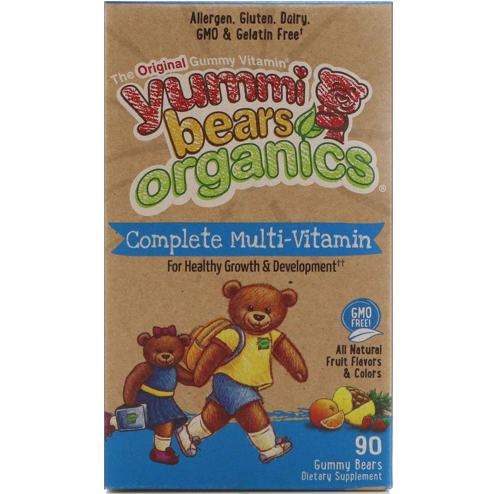 Hero Nutritional Products, Yummi Bears Organics, полноценные мультивитамины, со вкусом органических фруктов, 90 жевательных медвежат