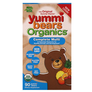 Hero Nutritional Products, Yummi Bears Organics, Complete Multi, Organic Fruit Flavors, 90 Yummi Bears