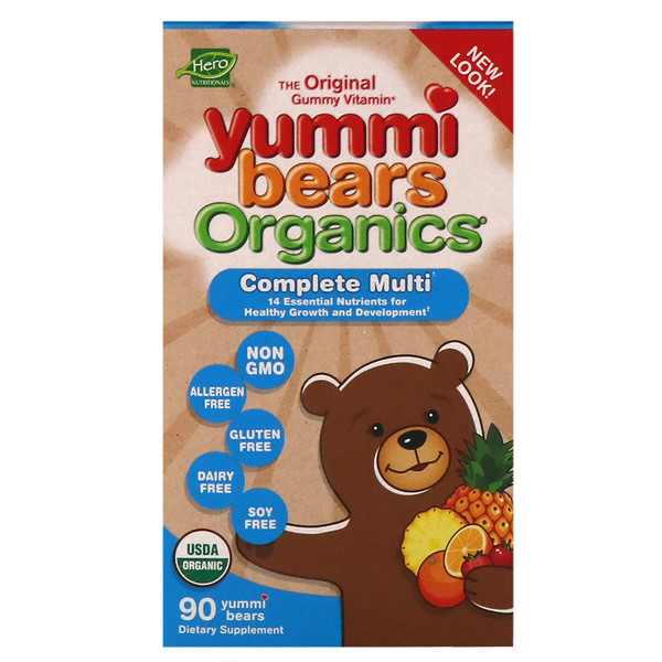 Hero Nutritional Products, Yummi Bears Organics, Complete Multi, Organic Strawberry, Orange and Pineapple Flavors, 90 Yummi Bears