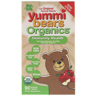 Hero Nutritional Products, Yummi Bears Organics, Immunity Health, Apple Flavor, 90 Yummi Bears