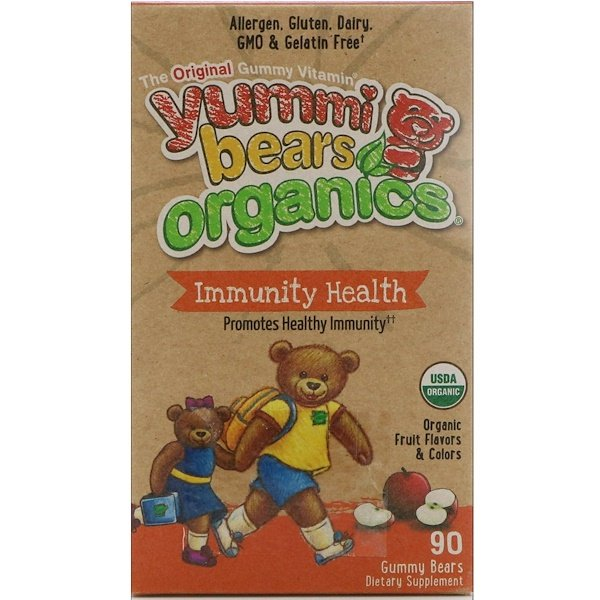 Hero Nutritional Products, Yummi Bears Organics, Immunity Health, Organic Fruit Flavors, 90 Gummy Bears