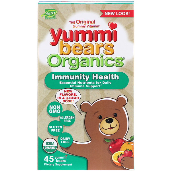 Hero Nutritional Products, Yummi Bears Organics, Immunity Health, 45 Yummi Bears