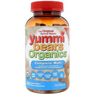 Hero Nutritional Products, Yummi Bears Organics, Полноценные мультивитамины, Органическая клубника, Апельсин и ананас, 180 вкусных мишек