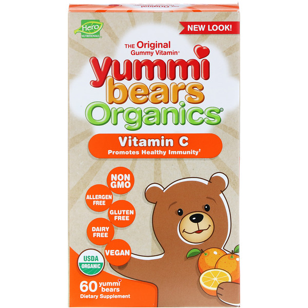 Hero Nutritional Products, Yummi Bears Organics، فيتامين ج، عدد 60 Yummi Bears