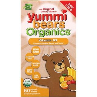 Hero Nutritional Products, Yummi Bears Organics، فيتامين D3 عدد 60 Yummi Bears