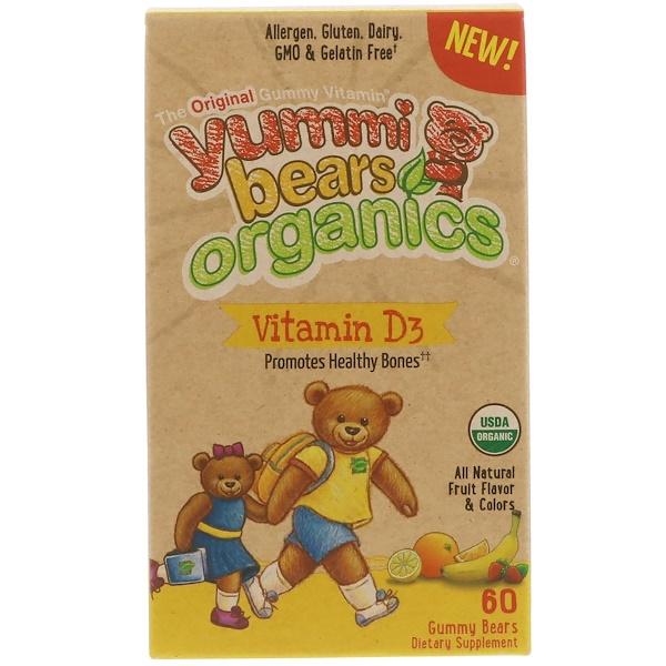 Hero Nutritional Products, Yummi Bears 有機, 維生素 D3, 全天然水果味, 60 橡皮熊糖