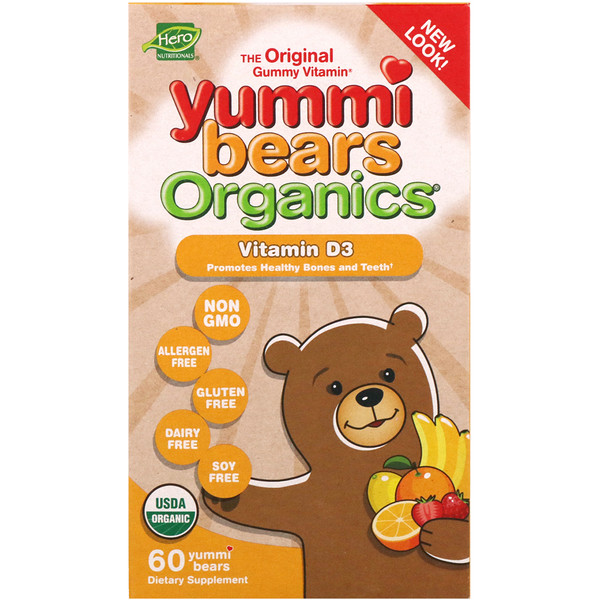 Hero Nutritional Products, Yummi Bears Organics، فيتامين D3 عدد 60 Yummi Bears