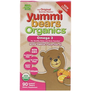 Hero Nutritional Products, Yummi Bears Organics, Omega 3, 90 Yummi-Bären