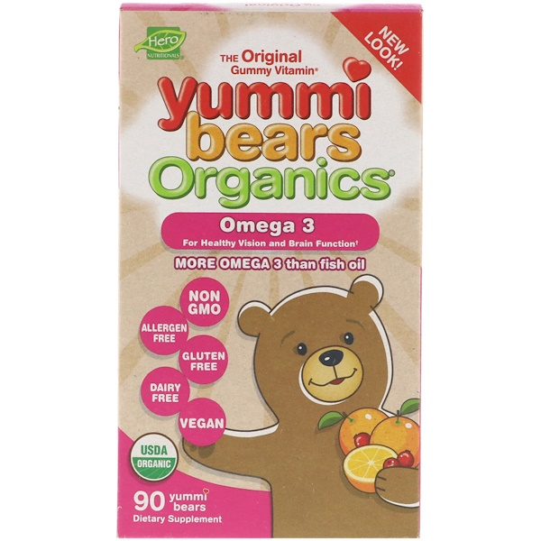 Hero Nutritional Products, Yummi Bears Organics, Omega 3, 90 Yummi Bears