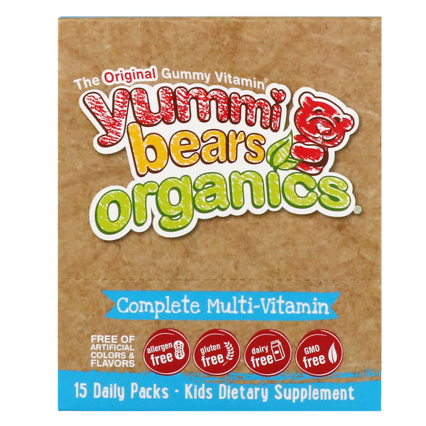 Hero Nutritional Products, Yummi Bears Organics, Complete Multi-Vitamin, Organic Fruit Flavors, 15 Daily Packs (Discontinued Item)