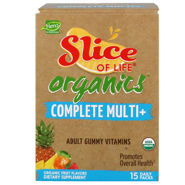 Hero Nutritional Products, Slice of Life Organics, Adult Gummy Vitamins, Complete Multi+, Organic Fruit Flavors, 15 Daily Packs, 2 Gummies Each (Discontinued Item)