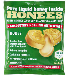 Honees, Honey Menthol Cough Suppressant, 20 Cough Drops