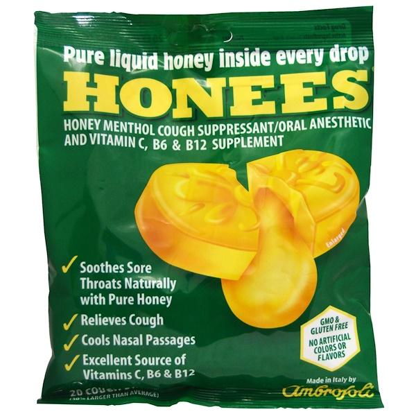 :Honees, Honey Menthol Cough Suppressant, 20 Cough Drops