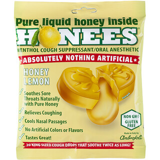 Honees, Cough Drops, Honey Lemon, 20 Cough Drops