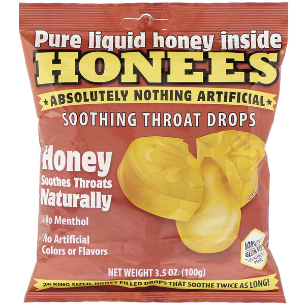 Honees, Cough Drops, Honey Menthol Free, 20 Cough Drops