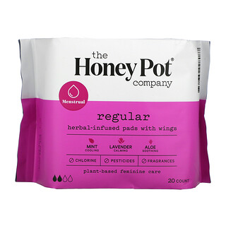 The Honey Pot Company, Herbal-Infused Pads with Wings, Regular, 20 Count