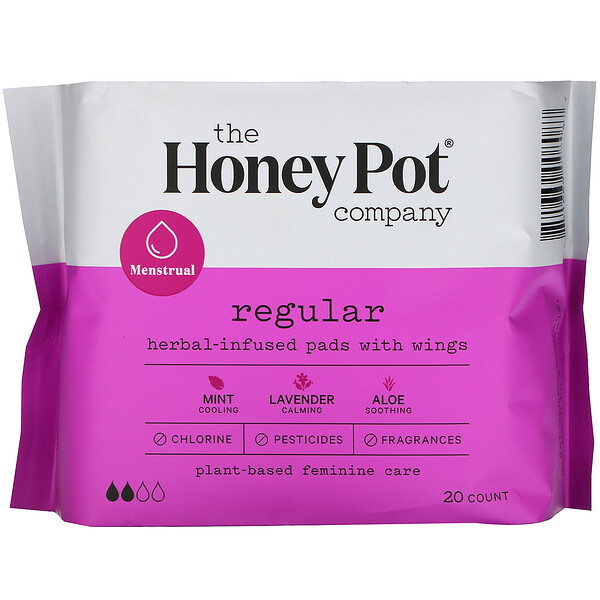 The Honey Pot Company, Compresas con alas con infusión de hierbas, Regular, 20 unidades