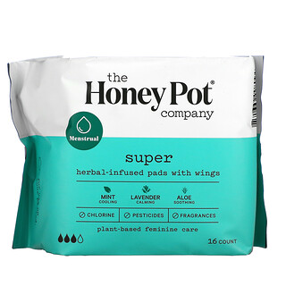 The Honey Pot Company, Herbal-Infused Pads with Wings, Super, 16 Count