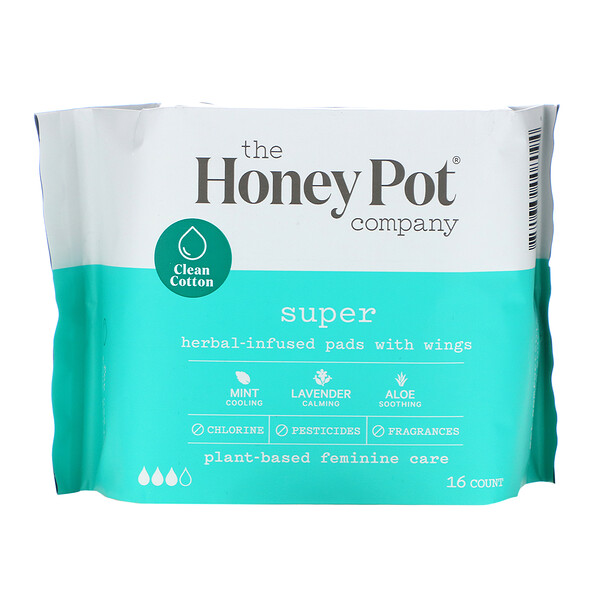 Herbal-Infused Pads with Wings, Super, 16 Count