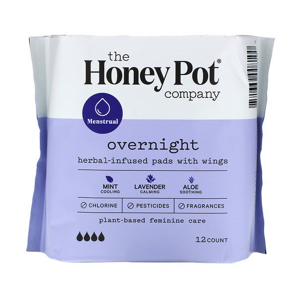 The Honey Pot Company, Herbal-Infused Pads with Wings, Overnight, 12 Count