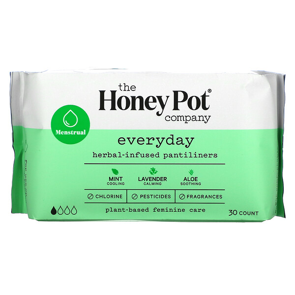 The Honey Pot Company, Herbal-Infused Pantiliners, Everyday, 30 Count