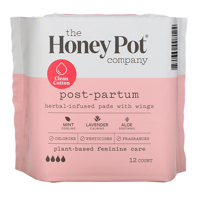 Купить The Honey Pot Company Herbal-Infused Pads with Wings, Postpartum, 12 Count