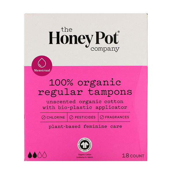 The Honey Pot Company, 100% Organic Regular Tampons, 18 Count