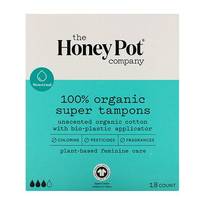 Купить The Honey Pot Company 100% Organic Super Tampons, 18 Count