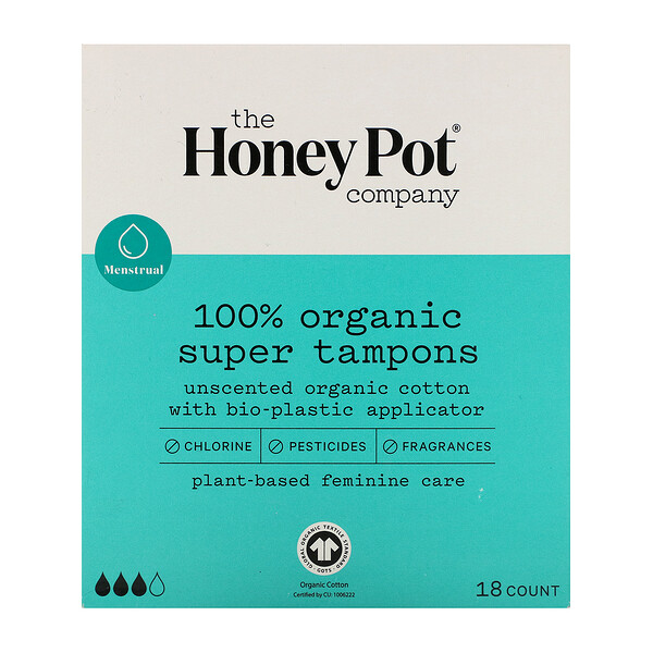The Honey Pot Company, 100% Organic Super Tampons, 18 Count