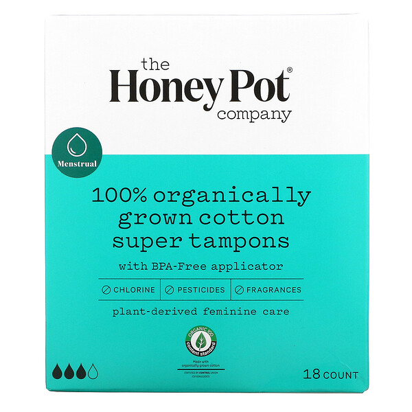 100% Organically Grown Cotton Super Tampons, 18 Count