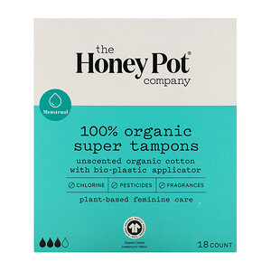The Honeypot Company, 100% Organic Super Tampons, 18 Count