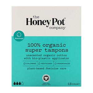 The Honeypot Company, 100% Organic Super Tampons, 18 Count