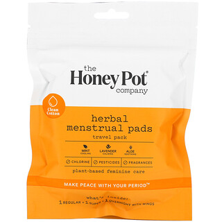 The Honey Pot Company, Herbal Menstrual Pads, Travel Pack, 3 Count