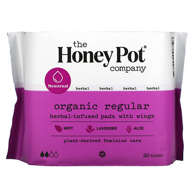 Купить The Honey Pot Company Organic Regular Herbal-Infused Pads With Wings, 20 Count