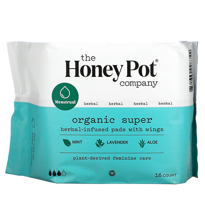Купить The Honey Pot Company Organic Super Herbal-Infused Pads with Wings, 16 Count
