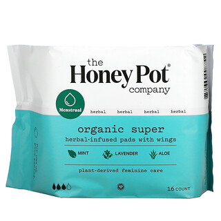The Honey Pot Company, Organic Super Herbal-Infused Pads with Wings, 16 Count