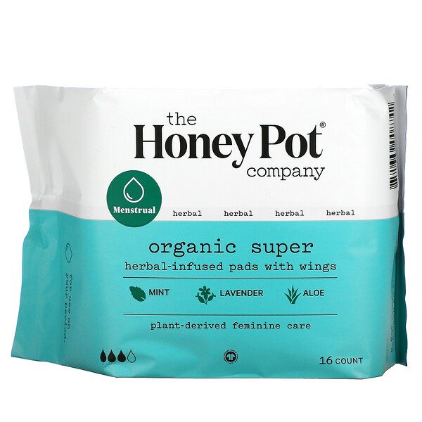 Organic Super Herbal-Infused Pads with Wings, 16 Count