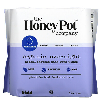 Купить The Honey Pot Company Organic Herbal-Infused Pads with Wings, Overnight, 12 Count