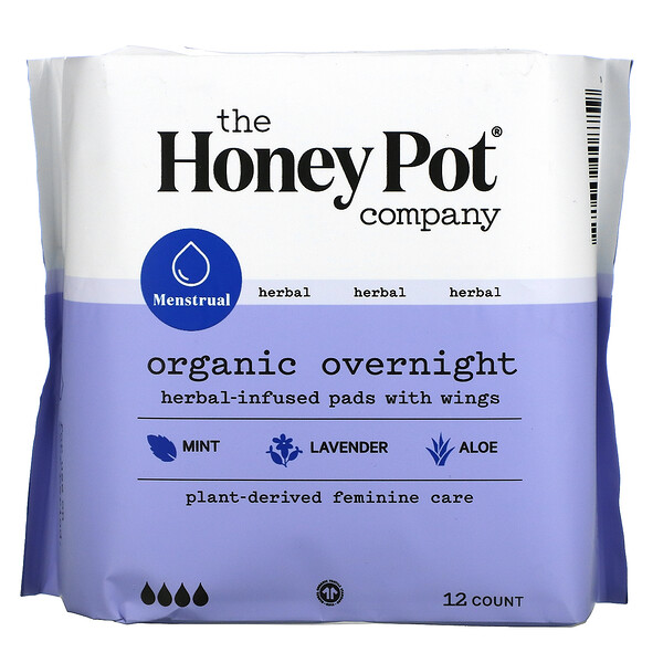 Organic Herbal-Infused Pads with Wings, Overnight, 12 Count