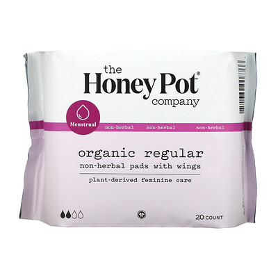 Купить The Honey Pot Company Organic Regular Non-Herbal Pads With Wings, 20 Count