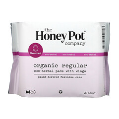 The Honey Pot Company, Organic Regular Non-Herbal Pads With Wings, 20 Count