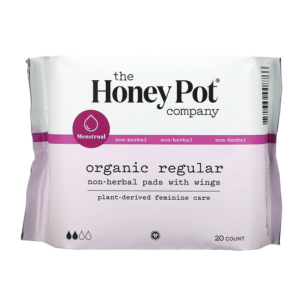 Non-Herbal Pads With Wings, Organic Regular, 20 Count