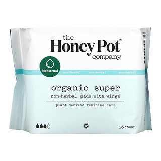 The Honey Pot Company, Non-Herbal Pads With Wings, Organic Super, 16 Count